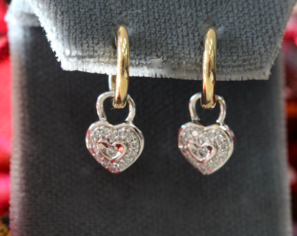 Adorable ~ Heart Shaped Diamond Padlock Earrings