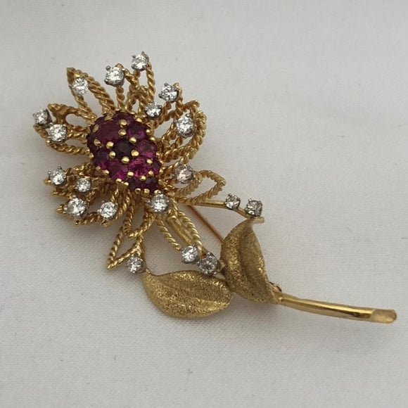 Ruby and Diamond Flower Pin