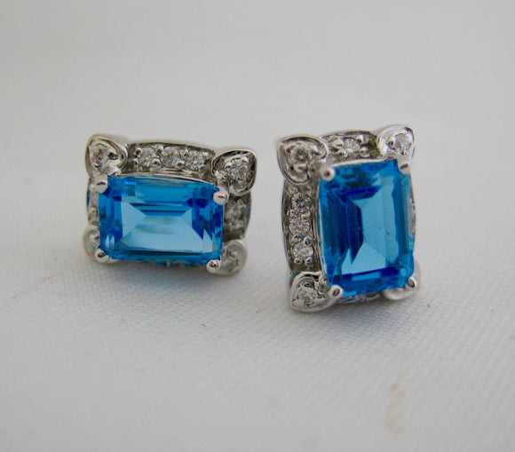 Diamond and Blue Topaz Stud Earrings