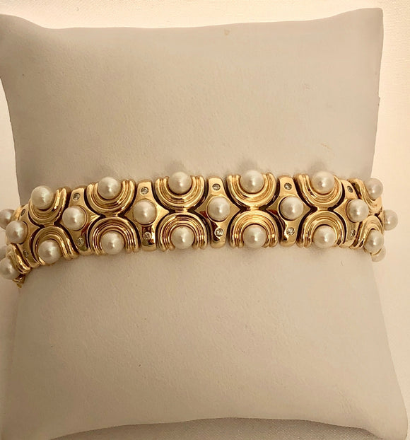 Pearl and Diamond Bracelet