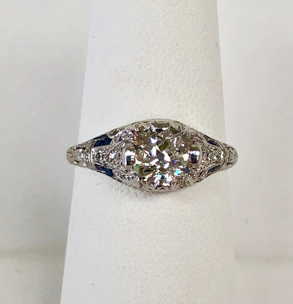 Diamond Ring with Sapphire Accents