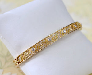 Elegant ~ Art Nouveau Bracelet with diamonds accents