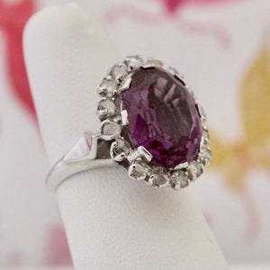 Vintage Color Change Synthetic Sapphire & Diamond Ring