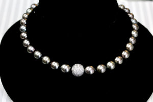 Gorgeous ~ South Sea Pearls with Pave Diamond Center Necklace