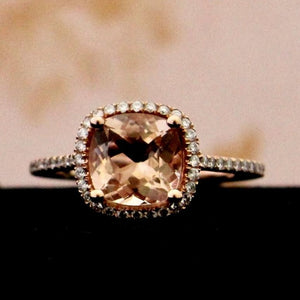 Vibrant Rose Gold Morganite & Diamond Ring