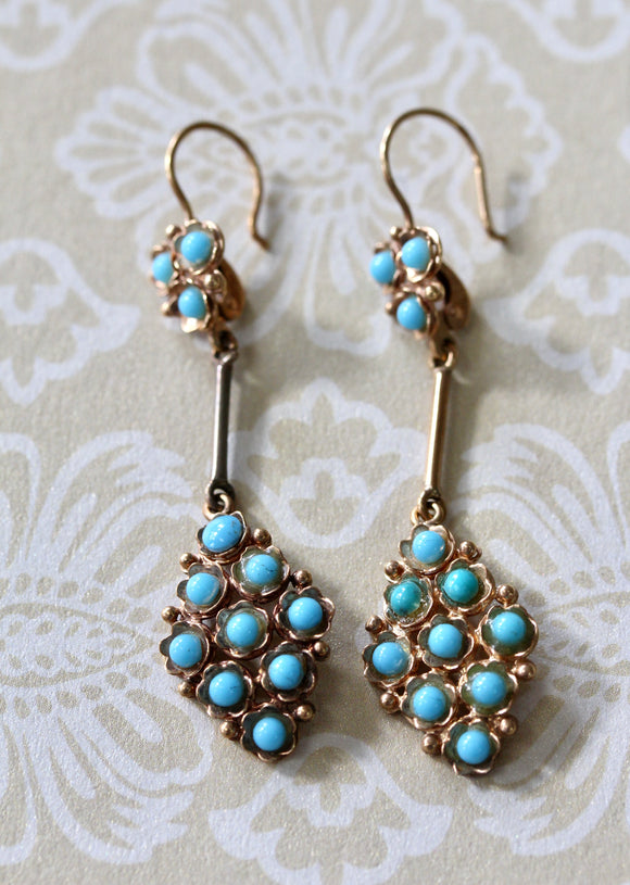 VINTAGE ~ Turquoise Drop Earrings
