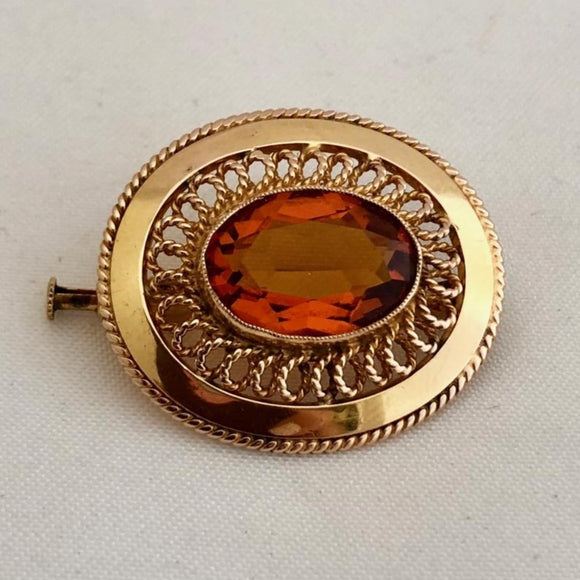 Citrine and Gold Pin