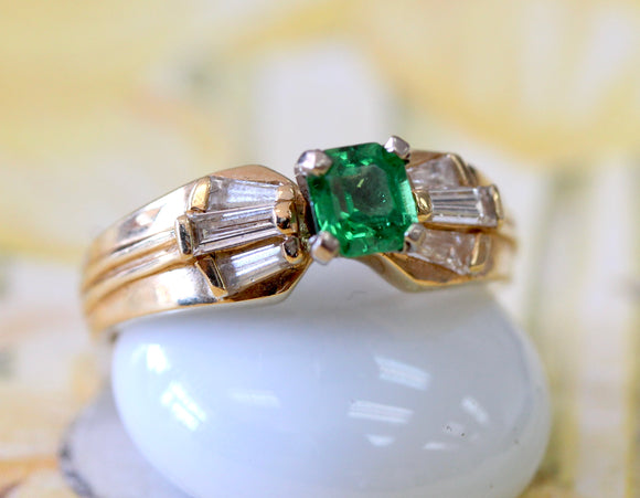 Square Tsavorite with Tapered Baguette Diamonds Ring
