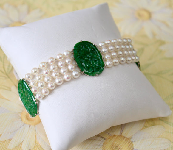 Cultured Pearl and Jade Bracelet