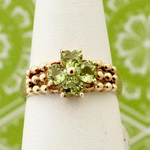Romantic 4 Heart Shaped Peridot Ring
