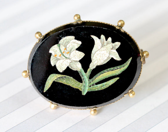 Elegant ~ Micro Mosaic Antique Pin, Circa 1860