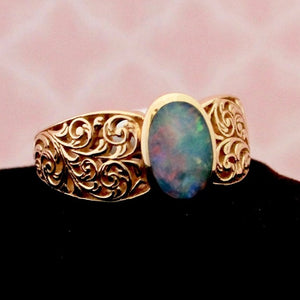 Detailed Openwork Opal Ring