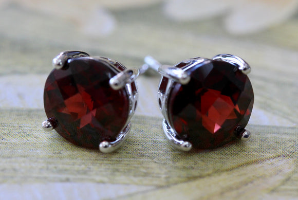 Garnet Stud Earrings ~ Timeless