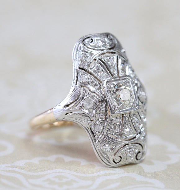 Gorgeous ~ Two Tone Diamond Vintage Ring