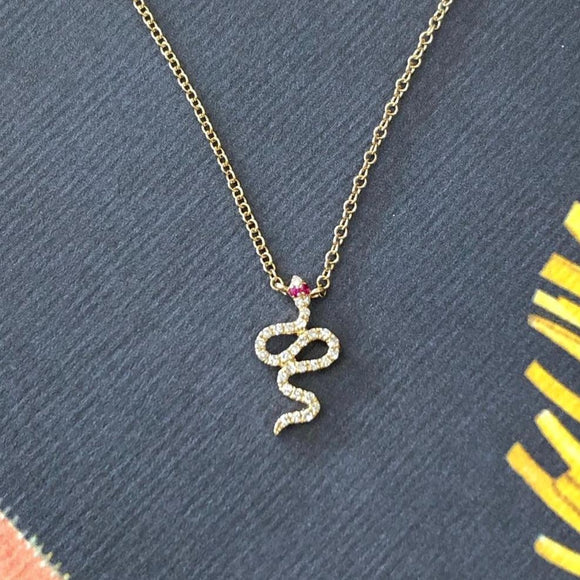 Diamond Snake Necklace with Ruby Eyes