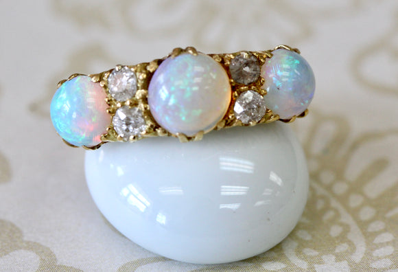 Antique ~ Diamond & Opal Ring