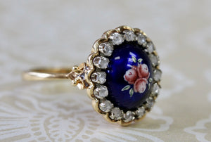 Lovely ~ Blue Enamel Ring with Diamond Accents