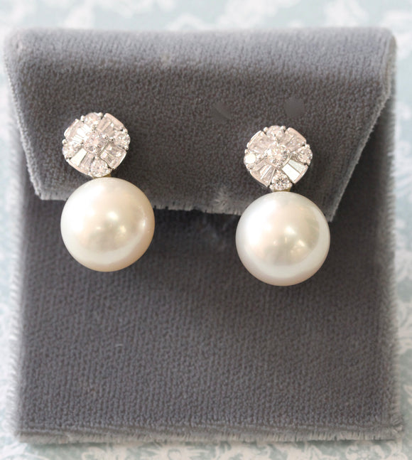 Elegant ~ Pearl & Diamond Earrings