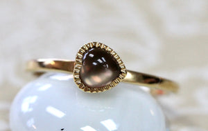 Dainty & Sweet ~ Smoky Quartz Heart Shaped Ring