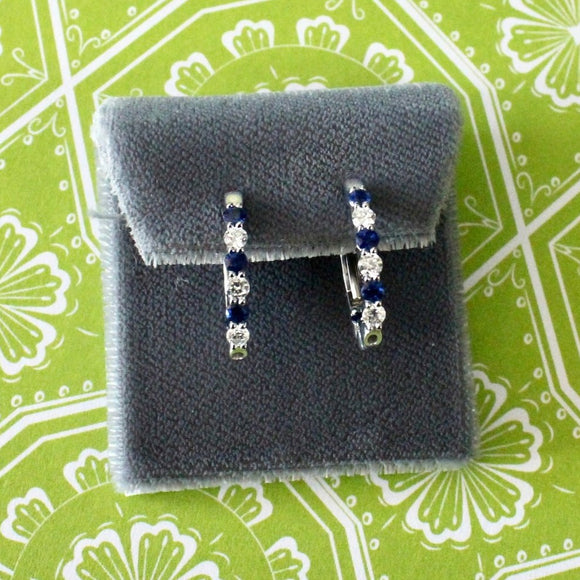 Classic Sapphire & Diamond Oval Hoop Earrings