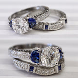 FABULOUS ~ Platinum Sapphire & Diamond Engagement Set, GIA Certified ~ WOW