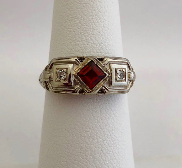Garnet and Diamond Friendship Ring