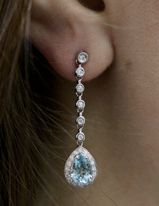 Diamond & Aquamarine Drop Earrings ~ Fabulous