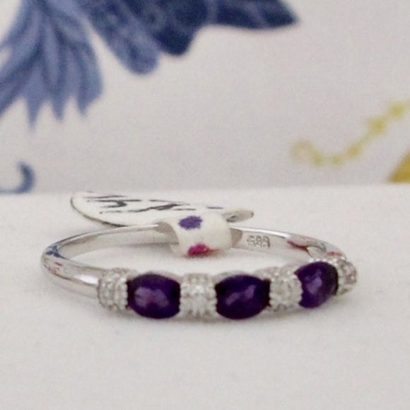 Dainty Amethyst & Diamond Band