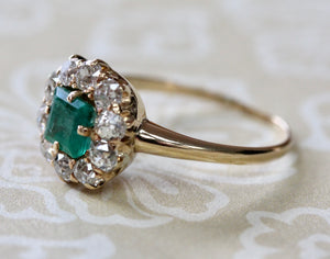 Pretty ~ Emerald Ring with Diamonds accents