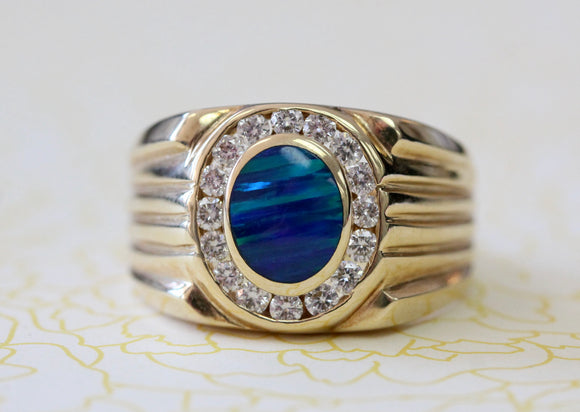 Handsome ~ Men's Opal & Diamond Ring