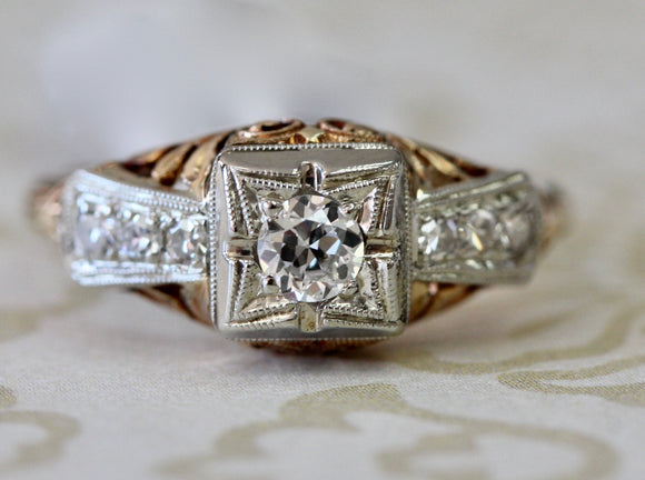 Vintage ~ Two Tone Diamond Ring