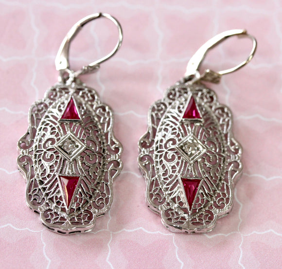 Pretty ~ Filigree with Diamond and Red Stone Drop Earrings