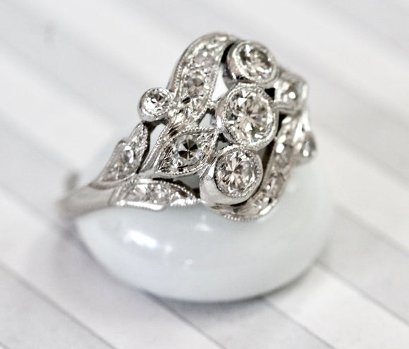 Fascinating ~ Antique Platinum Diamond Ring