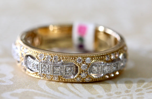 Beautiful ~ Yellow & White Gold Diamond Half Band