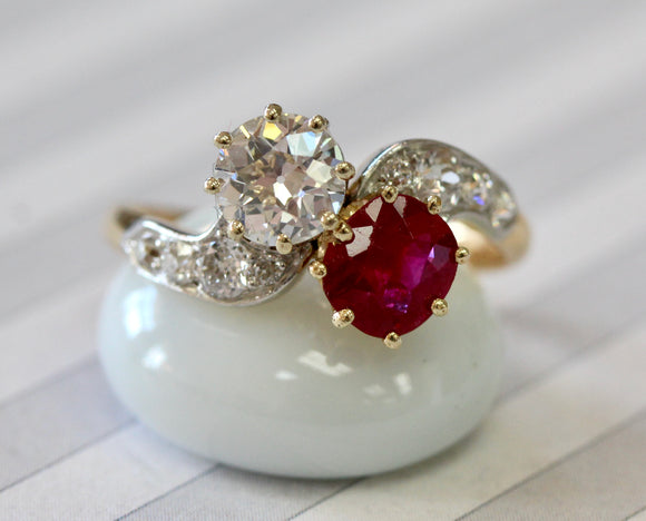Ruby & Diamond Bypass Ring ~ Gorgeous