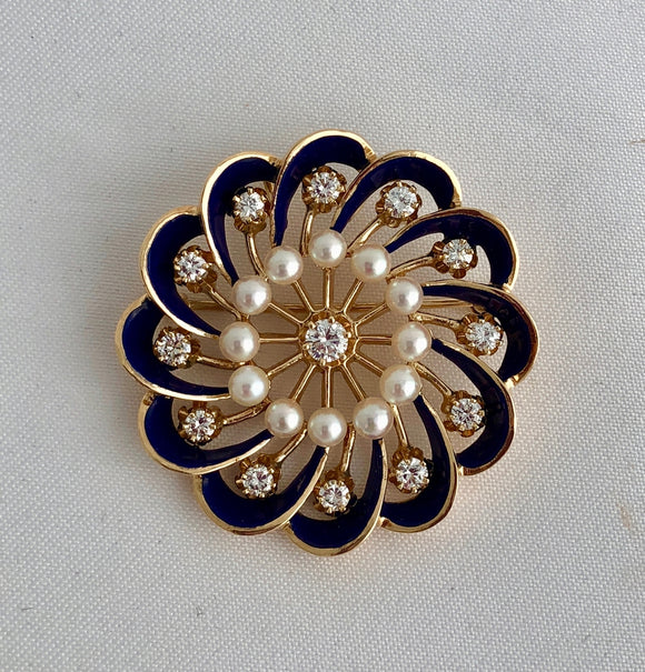 Blue Enamel, Diamond and Pearl Pin/Pendant