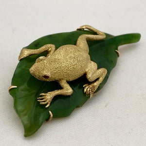 Frog and Jade Leaf Pin