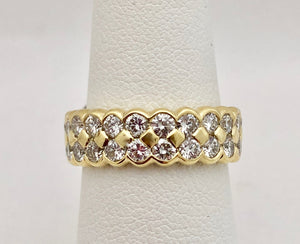 Double Beehive Diamond Eternity Band