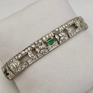 Vintage Diamond and Emerald Bracelet