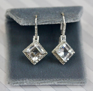 Sparkly ~ Aquamarine & Diamond Earrings