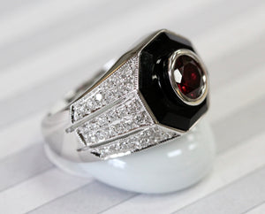 Dramatic ~ Onyx, Rhodolite Garnet & Diamond Ring, Unisex