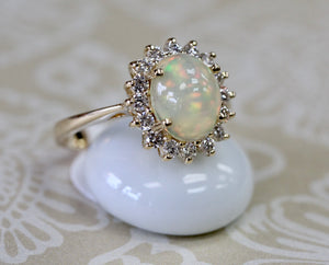 Beautiful ~ Opal & Diamond Ring