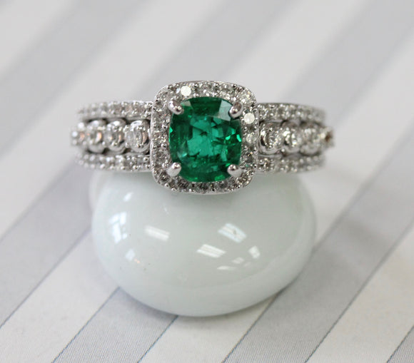 Emerald & Diamond Ring ~ Radiant