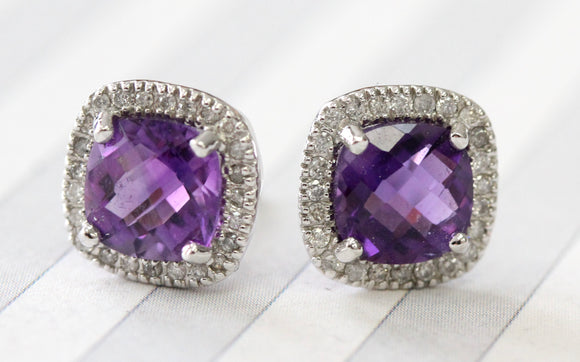 Sparkling ~ Amethyst & Diamond Earrings