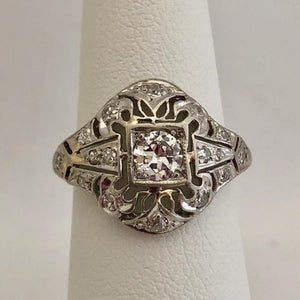 "Platinum ""Cigar Band"" Diamond Ring"