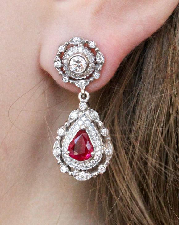 Doris Panos Tear Drop Ruby & Diamond Encrusted Drop Earrings ~ Stunning