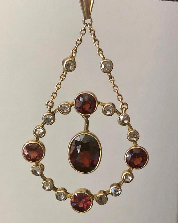 Edwardian Rose Gold Garnet and Diamond Pendant