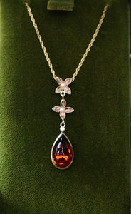 Antique ~  Garnet Cabochon Necklace with Diamond & Seed Pearl accents