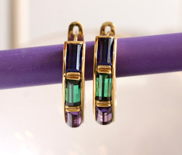 Amethyst, Tourmaline and Iolite Hoop Style Earrings