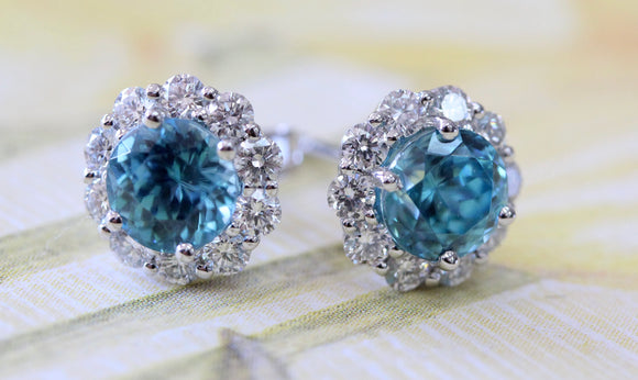 Blue Zircon & Diamond Earrings ~ Sparkly